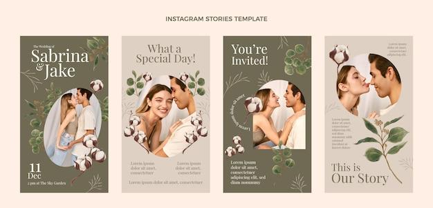 Storie di instagram di nozze disegnate a mano ad acquerello