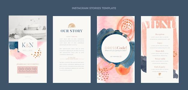 水彩手描きの結婚式のinstagramの物語