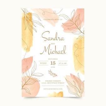 Watercolor hand drawn wedding invitation template