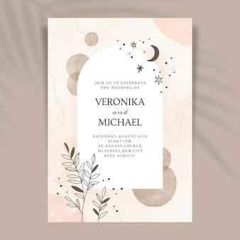 Watercolor hand drawn wedding invitation