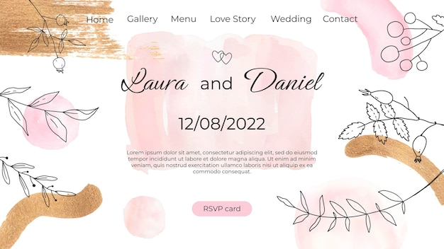 Watercolor hand drawn wedding label and badges