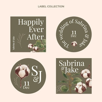 Watercolor hand drawn wedding labels