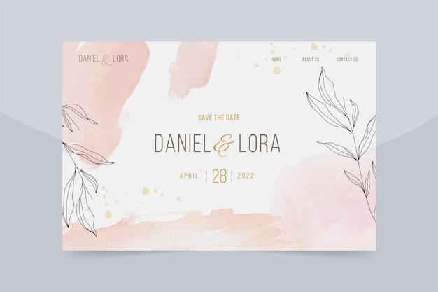 Pagina di destinazione del matrimonio disegnata a mano dell'acquerello