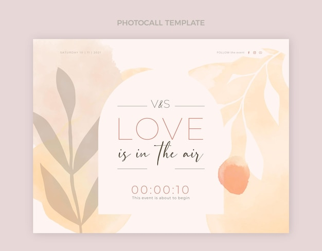 Watercolor hand drawn wedding photocall template
