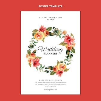 水彩手描きの結婚式のポスター