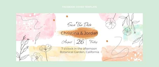 Watercolor hand drawn wedding social media cover template