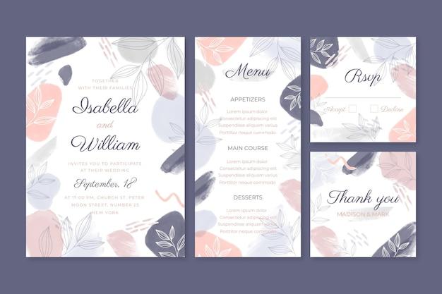 水彩手描きの結婚式の文房具