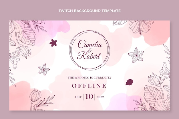 Watercolor hand drawn wedding twitch background