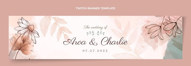 Watercolor hand drawn wedding twitch banner