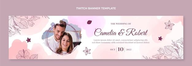 Banner di contrazione del matrimonio disegnato a mano dell'acquerello