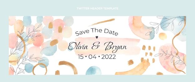 Watercolor hand drawn wedding twitter header