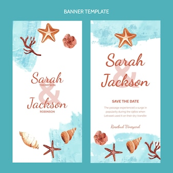 Watercolor hand drawn wedding vertical banners