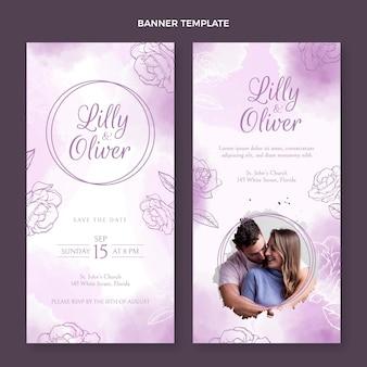 Bandiere verticali di nozze disegnate a mano dell'acquerello