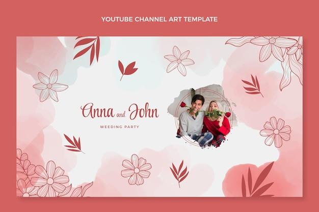 Watercolor hand drawn wedding youtube channel art