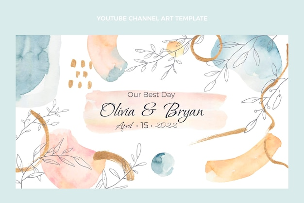 Watercolor hand drawn wedding youtube channel