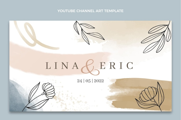 Canale youtube di matrimonio disegnato a mano ad acquerello