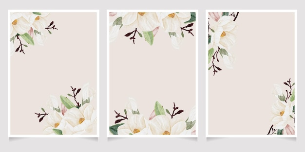 Акварель рисованной белый цветок магнолии и букет веток зеленых листьев коллекция шаблонов свадебных приглашений