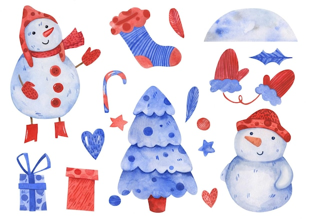 水彩手描きの冬のクリスマスと新年のセット