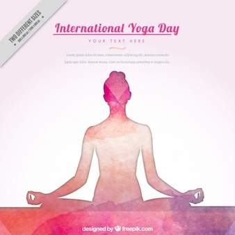 Watercolor hand drawn yoga background