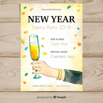 Watercolor hand holding glass new year poster