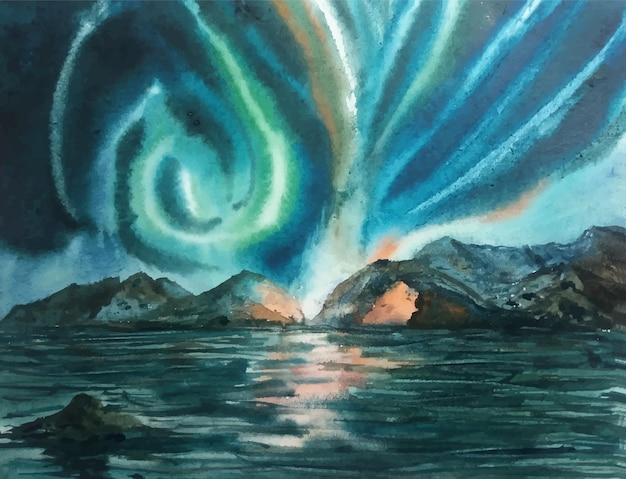 수채화 손으로 바다 그림에 그림 어선을 만든