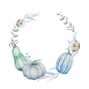 水彩の手描きの秋の枝の花輪。青いカボチャ、紅葉と枝と綿の丸いフレーム。デザインと背景の秋のイラスト。