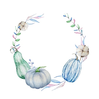 Watercolor hand painted autumn branch wreath. round frame with blue pumpkins, autumn leaves and branches and cotton. autumn illustration for design and background.