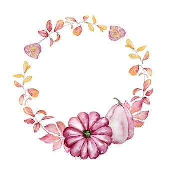 수채화 손으로 그린 가을 분기 화환. 분홍색 호박, 단풍 및 가지 라운드 프레임. 프리미엄 벡터