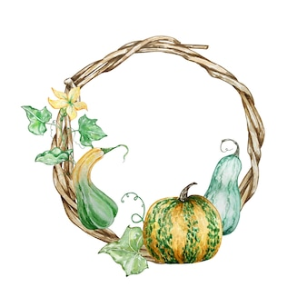 Watercolor hand painted autumn branch wreath. wooden wreath with pumpkins, leaves, and flowers. autumn illustration