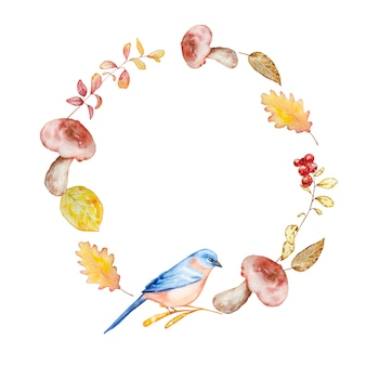 Watercolor hand painted autumn wreath of bright yellow orange branches and leaves, mushrooms, berries and bluebird. autumn illustration for design and background