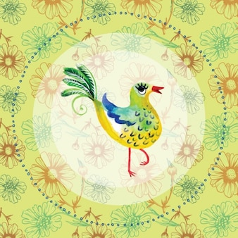 Watercolor hand painted bird background