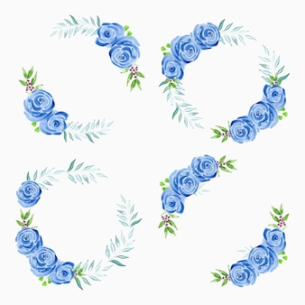 Watercolor hand painted blue rose flower wreath collection