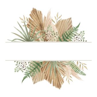 Watercolor hand painted boho style floral banner with dried palm leaves, ferns and pampas grass