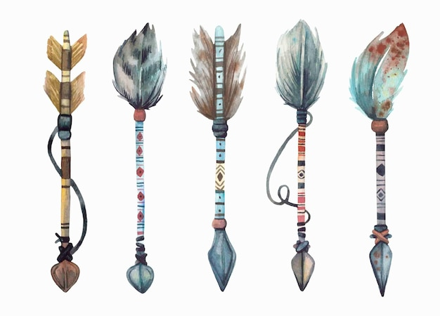 Watercolor hand painted boho\tribal arrows collection.