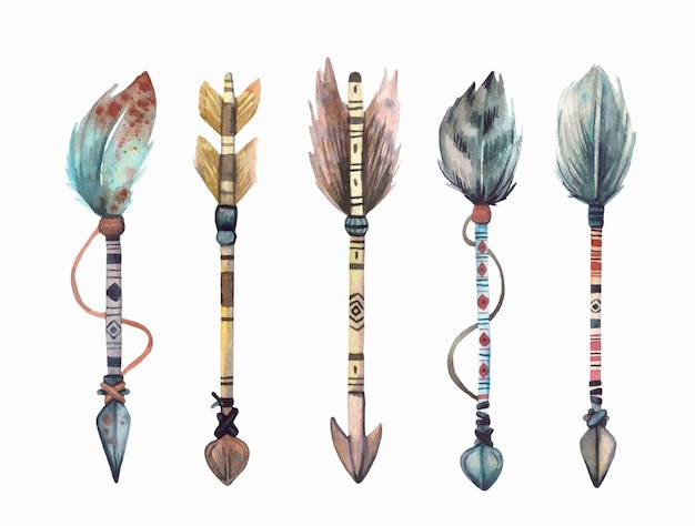 Watercolor hand painted boho\troibal arrows collection.