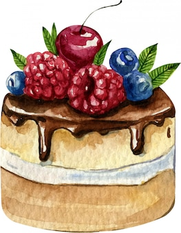 Watercolor hand painted cake with cherry, blueberry and raspberry