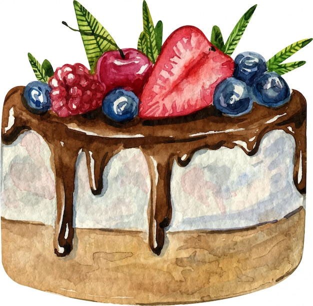 Watercolor hand painted cake with cherry, strawberry, blueberry and raspberry