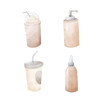 Watercolor hand painted coffee clipart set isolated on white. sweet drinks illustrations.