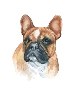 수채화 손으로 귀여운 강아지 그림을 그린