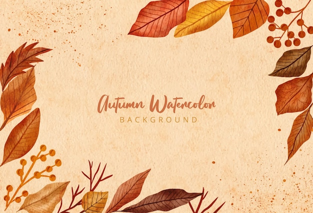Watercolor hand painted design autumnal leaves background
