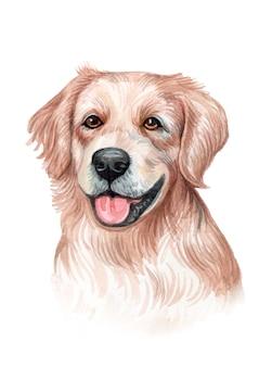 수채화 손으로 개 그림을 그린