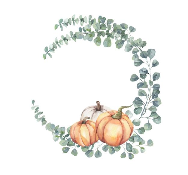 水彩の手描きのユーカリの枝とカボチャの花のフレーム。