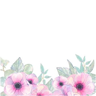 Watercolor hand painted flower pink anemone invitation card isolated on white