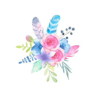 수채화 손으로 그린 꽃 웨딩 부케와 나뭇잎에 격리 된 화이트