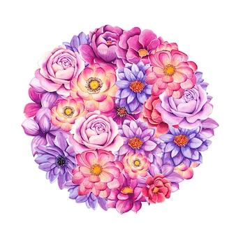 Watercolor hand painted flowers in circle shape