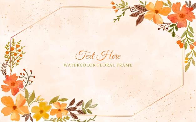 結婚式の招待状の水彩手描きフレーム花の背景