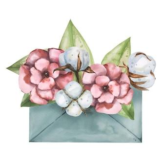 封筒に花束の花の水彩画手描きイラスト。