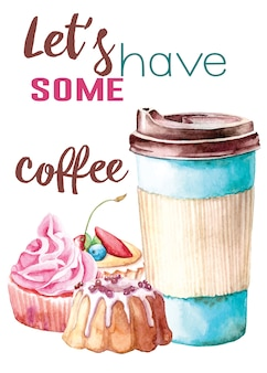 Watercolor hand painted illustration for postcard with cup of coffe and сupcakes on white