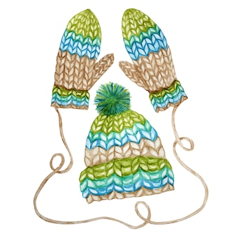 Watercolor hand painted knitted winter woolen clothes set. mitten, cap with pompon. knitting hat, in blue green brown color. warm trendy accessory collection isolated on white background. hand drawn