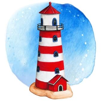 水彩手描きの灯台赤白と青